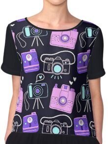 Purple & Pink Shutter Bug Retro Cameras Chiffon Top