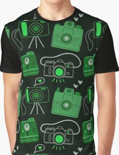 Green & Black Shutter Bug Retro Cameras Graphic T-Shirt