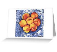 Peaches on a Blue Plate Greeting Card