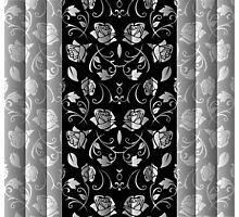 Black & White Rose Floral Panels Photographic Print