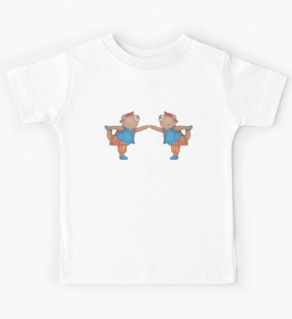 French Twins in Yoga Bear Dancer's pose Kids Tee