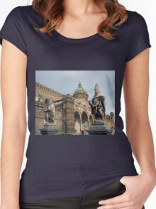 Statues of the Santa Maria Assunta - Palermo Cathedral  Women's Fitted Scoop T-Shirt