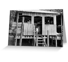 Village Life ~ Black & White Greeting Card