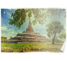 Temple on a sunny day painting look Poster