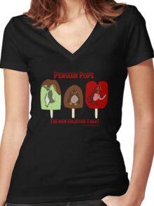 Penguin Pops Women's Fitted V-Neck T-Shirt
