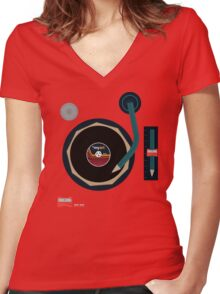Vinyl Is *myart Women's Fitted V-Neck T-Shirt