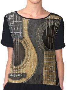 Old and Worn Acoustic Guitars Yin Yang Chiffon Top