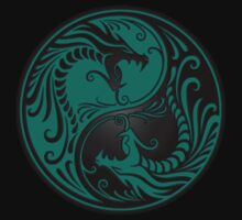 Yin Yang Dragons Teal Blue and Black One Piece - Long Sleeve