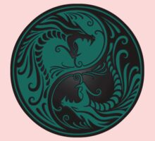 Yin Yang Dragons Teal Blue and Black One Piece - Short Sleeve