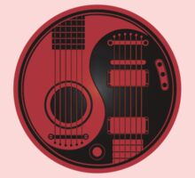Red and Black Acoustic Electric Guitars Yin Yang Kids Tee
