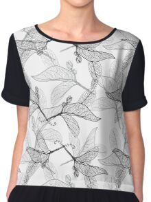 Leaves contours on white background Chiffon Top