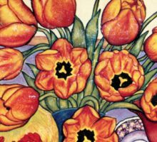 Tulips and China on the Mantlepiece Sticker