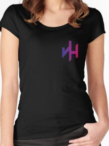 Just Happens Logo - Chest (Blue/Red Fade) Women's Fitted Scoop T-Shirt