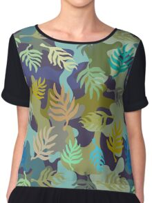 Seamless blue and green camouflage pattern with palm leaves. Chiffon Top