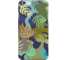 Seamless blue and green camouflage pattern with palm leaves. iPhone Case/Skin