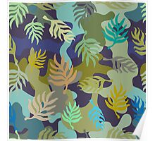 Seamless blue and green camouflage pattern with palm leaves. Poster