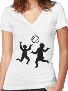 Kids playing with a ball Women's Fitted V-Neck T-Shirt