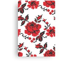 Cross-stitch folklore red rose pattern Canvas Print