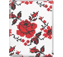Cross-stitch folklore red rose pattern iPad Case/Skin