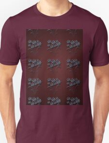 Blue flowers pattern on maroon background Unisex T-Shirt
