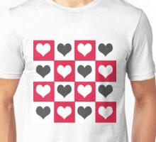 Red and black hearts on a white Unisex T-Shirt