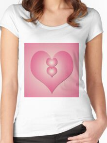Pink hearts on pink background Women's Fitted Scoop T-Shirt