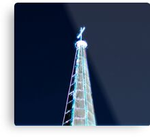 Digitally manipulated glowing image of a spire of church with a crucifix  Metal Print