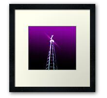 Digitally manipulated glowing image of a spire of church with a crucifix  Framed Print