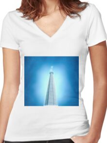 Digitally manipulated image of a spire of church with a crucifix  Women's Fitted V-Neck T-Shirt