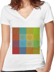 Floral pattern on colorful background Women's Fitted V-Neck T-Shirt