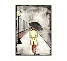 The wanderer in the rain Art Print