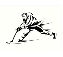 Ice hockey players silhouette Art Print