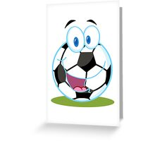 Cartoon soccer smiley ball Greeting Card