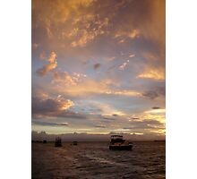 Boat on the water after a storm Photographic Print