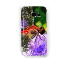 Red Dragonfly on Violet Purple Flowers Samsung Galaxy Case/Skin