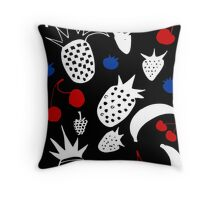 Fruit Salada on black Throw Pillow