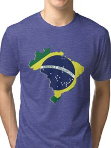 Brazil map rippled flag on abstract background Tri-blend T-Shirt