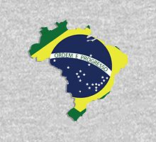 Brazil map rippled flag on abstract background Unisex T-Shirt