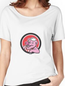 Butcher Pig Leaning Circle Cartoon Women's Relaxed Fit T-Shirt