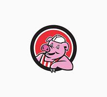 Butcher Pig Leaning Circle Cartoon Unisex T-Shirt