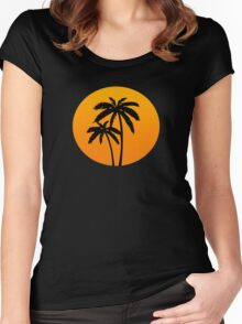Palm Tress Sunset Women's Fitted Scoop T-Shirt