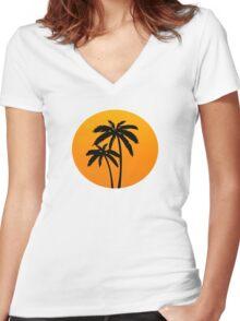 Palm Tress Sunset Women's Fitted V-Neck T-Shirt