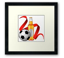 Beer with football design Framed Print