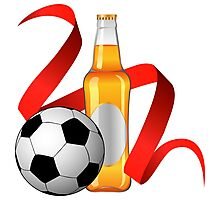 Beer with football design Photographic Print