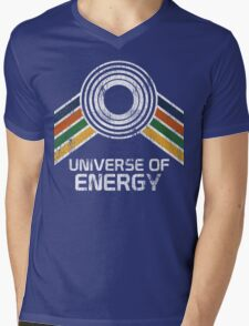 Universe of Energy Logo in Vintage Distressed Style Mens V-Neck T-Shirt