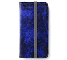 Deep Royal Blue Black Crackle Lacquer Pattern Grunge Texture iPhone Wallet/Case/Skin