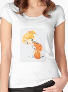 Basketball cartoon girl character Women's Fitted Scoop T-Shirt
