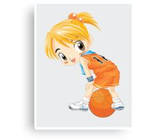 Basketball cartoon girl character Canvas Print