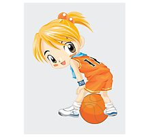 Basketball cartoon girl character Photographic Print