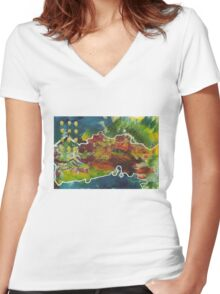 Island life Women's Fitted V-Neck T-Shirt